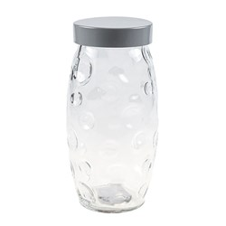 Glass Jar Circles Embossed w Grey Tin Lid 1500ml