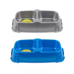 Pet Bowl Double Diner Plastic 30x6.5cm 2 Asstd Metallic Cols