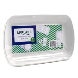 Tray Oblong Plastic White Pk2 35x21cm
