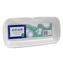 Tray Oblong Plastic White Pk2 39x18cm