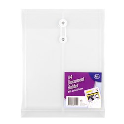 Document Wallet PP w String Closure A4 Clear