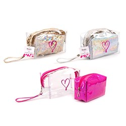 Cosmetic Bag PVC 2 PC Set Clear & Coloured 3 Asstd Cols