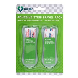 Adhesive Strips w Travel Dispenser 10pcs Clear & Opaque