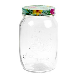 Glass Conserve Jar w Printed Tin Lid Tropical Des 1L