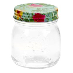 Glass Conserve Jar w Printed Tin Lid Tropical Des 300ml