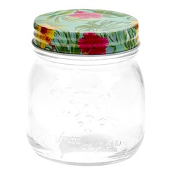 Glass Conserve Jar w Printed Tin Lid Tropical Des 150ml