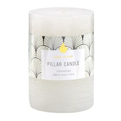 Candle Pillar Round Rustic White 36 Hour 7x10cm