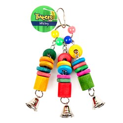 Bird Toy Wooden 3 Piece w Bells 20x6cm