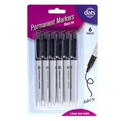 Marker Permanent 6pk Black Ink Pen Style