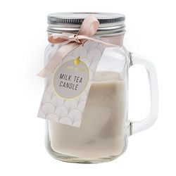 Candle Scented in Mason Jar w Lid Milk Tea 7x13cm