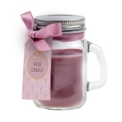 Candle Scented in Mason Jar w Lid Rose 5x8cm