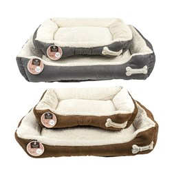 Pet Bed Plush Rectangle Set of 2 Medium & Large