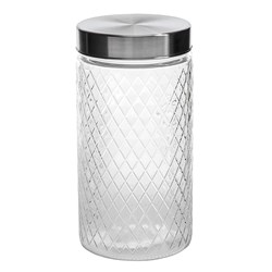 Glass Jar Diamond Des S/Steel Lid 1500ml 11.3x22cm