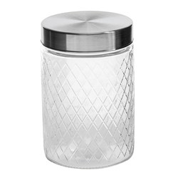 Glass Jar Diamond Des S/Steel Lid 1000ml 11.3x16.7cm