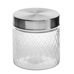Glass Jar Diamond Des S/Steel Lid 750ml 11.3x12cm