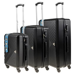 Luggage Set 3 ABS 4 Wheel 68cm 58cm 48cm Black