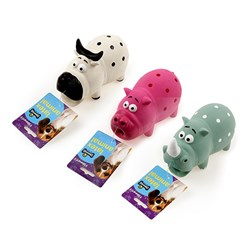 Dog Toy 16cm Squeaky Pig Cow Rhino