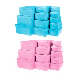 Gift Box Set 12 Rect 2 Asstd Solid Pastel Cols Blue Pink