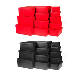 Gift Box Set 12 Rect 2 Asstd Solid Bright Cols Black Red