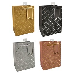 Gift Bag 210gsm ELEGANT Embossed Foil w Jhook Small