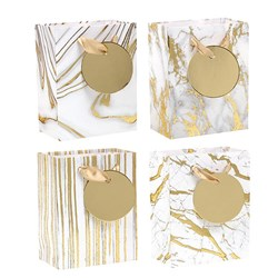 Gift Bag 210gsm Gold Marble Textured Foil w Jhook Small