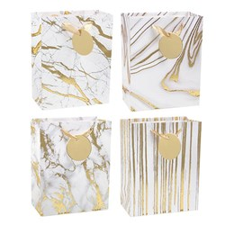 Gift Bag 210gsm Gold Marble Textured Foil w Jhook Medium