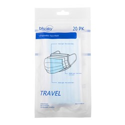 Blue Travel Mask 20pk