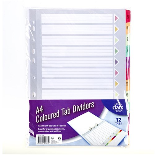 Tab Dividers Plastic A4 Monthly Jan to Dec