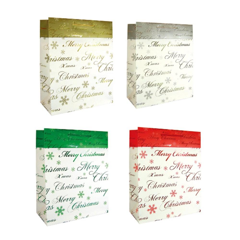 55844 - Gift Bag Xmas Cuff Foil Jumbo 4 Asstd - Dats