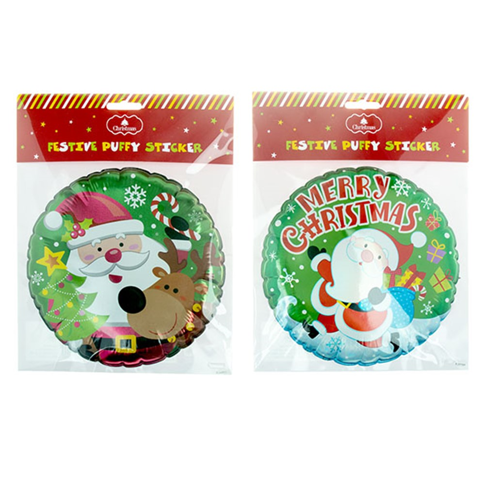 60376 Sticker Xmas Large Pop Up Round W Foil 2 Asstd Dats